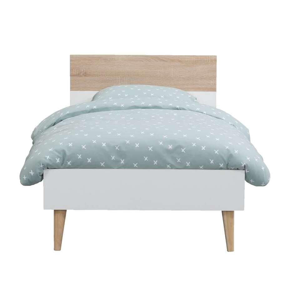 Bed Delta - wit/eiken - 90x200 cm
