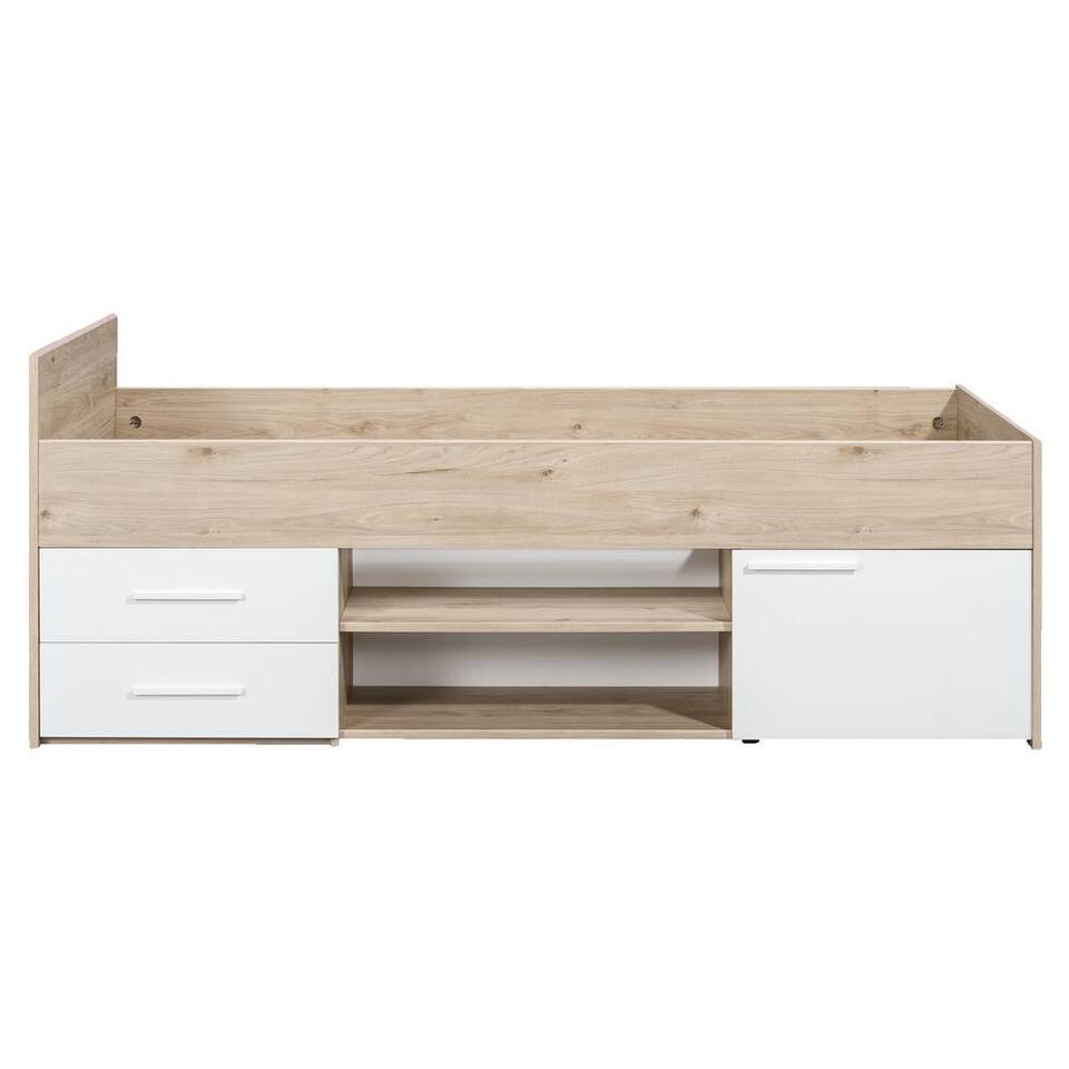 Lit Oslo - couleur chêne/blanc - 90x200 cm