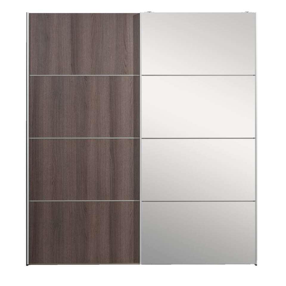 Armoire à portes coulissantes Verona - grise chêne/miroir - 200x182x64 cm
