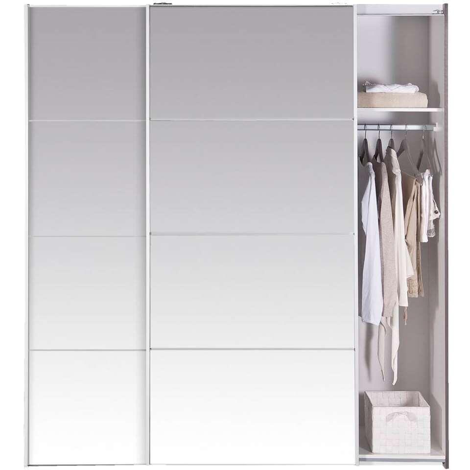 Armoire à portes coulissantes Verona - chêne gris/miroir - 200x182x64 cm