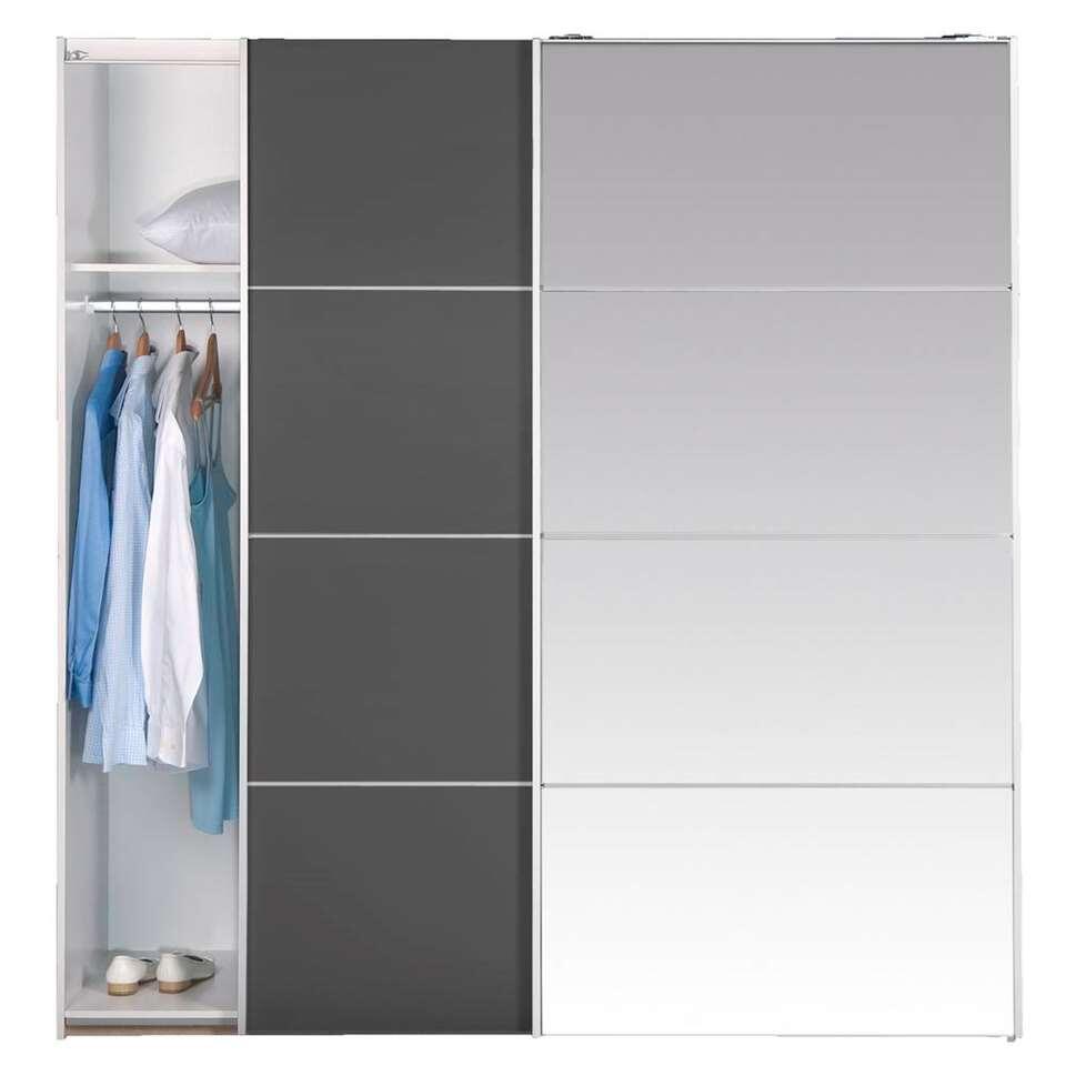 Armoire à portes coulissantes Verona - couleur anthracite/miroir - 200x182x64 cm