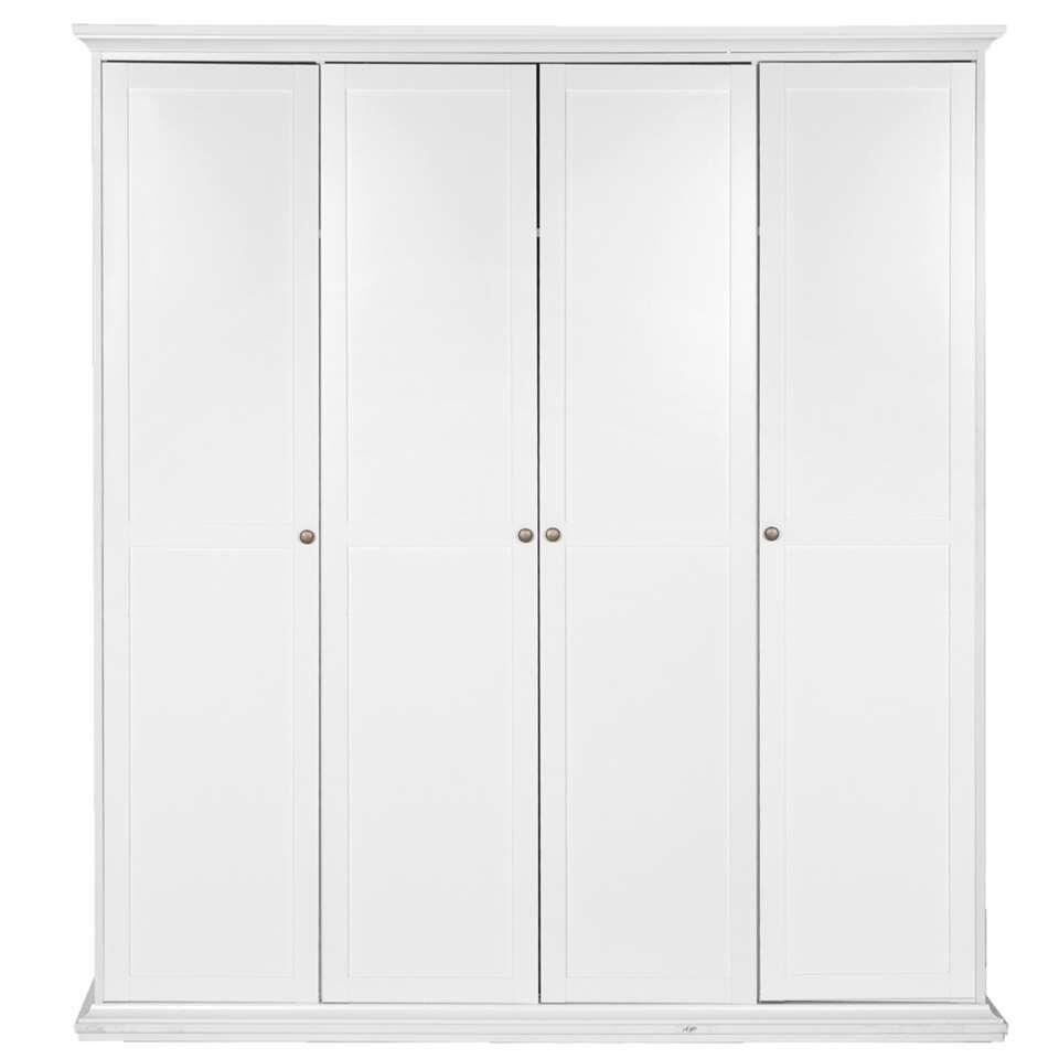 Kleerkast Fleur 4-deurs - wit - 201x181x61 cm