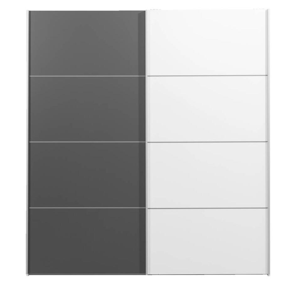 Schuifdeurkast Verona wit - wit/antracietkleur - 200x182x64 cm