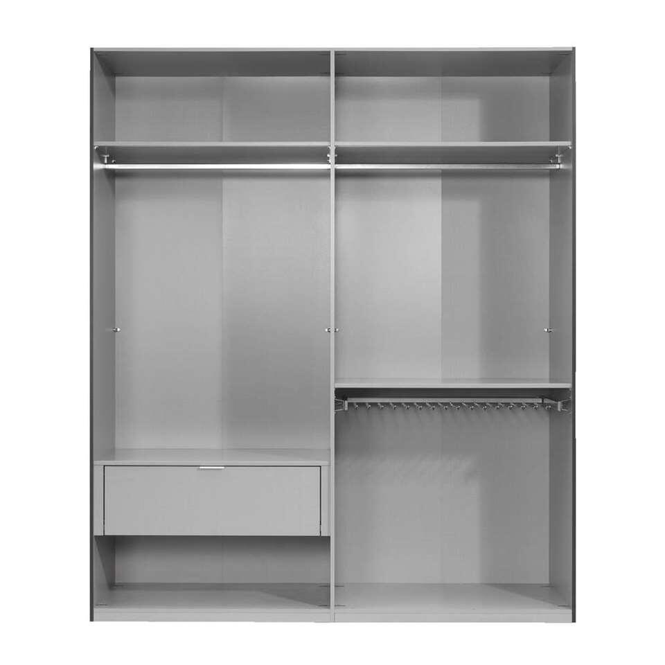 armoire linge tirana 4 portes anthracite 236x200x58 cm. Black Bedroom Furniture Sets. Home Design Ideas