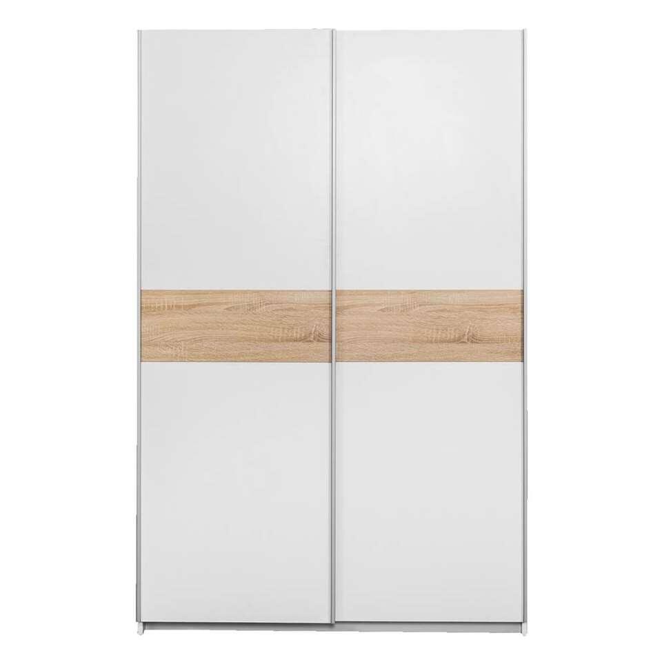 Armoire à portes coulissantes Reims - blanche/couleur chêne - 195x125x60 cm