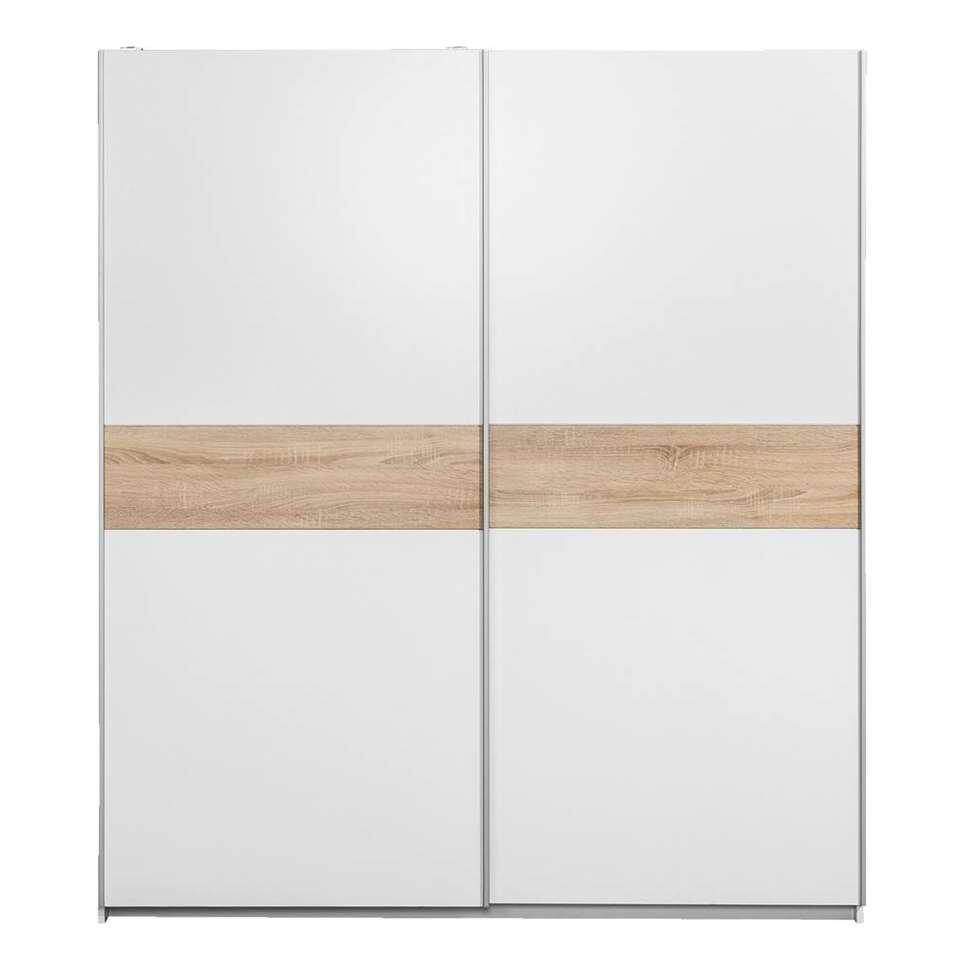 Armoire à portes coulissantes Reims - blanche/couleur chêne - 210x215x63 cm