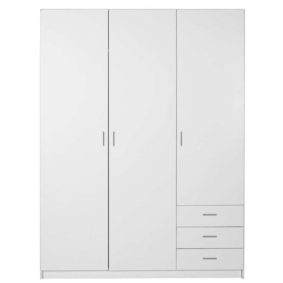 Kleerkast Sprint 3-deurs - wit - 200x147x50 cm