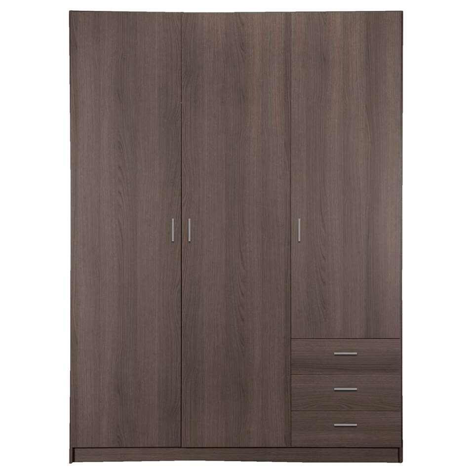 Kleerkast Sprint 3-deurs - grijs eikenkleur - 200x147x50 cm