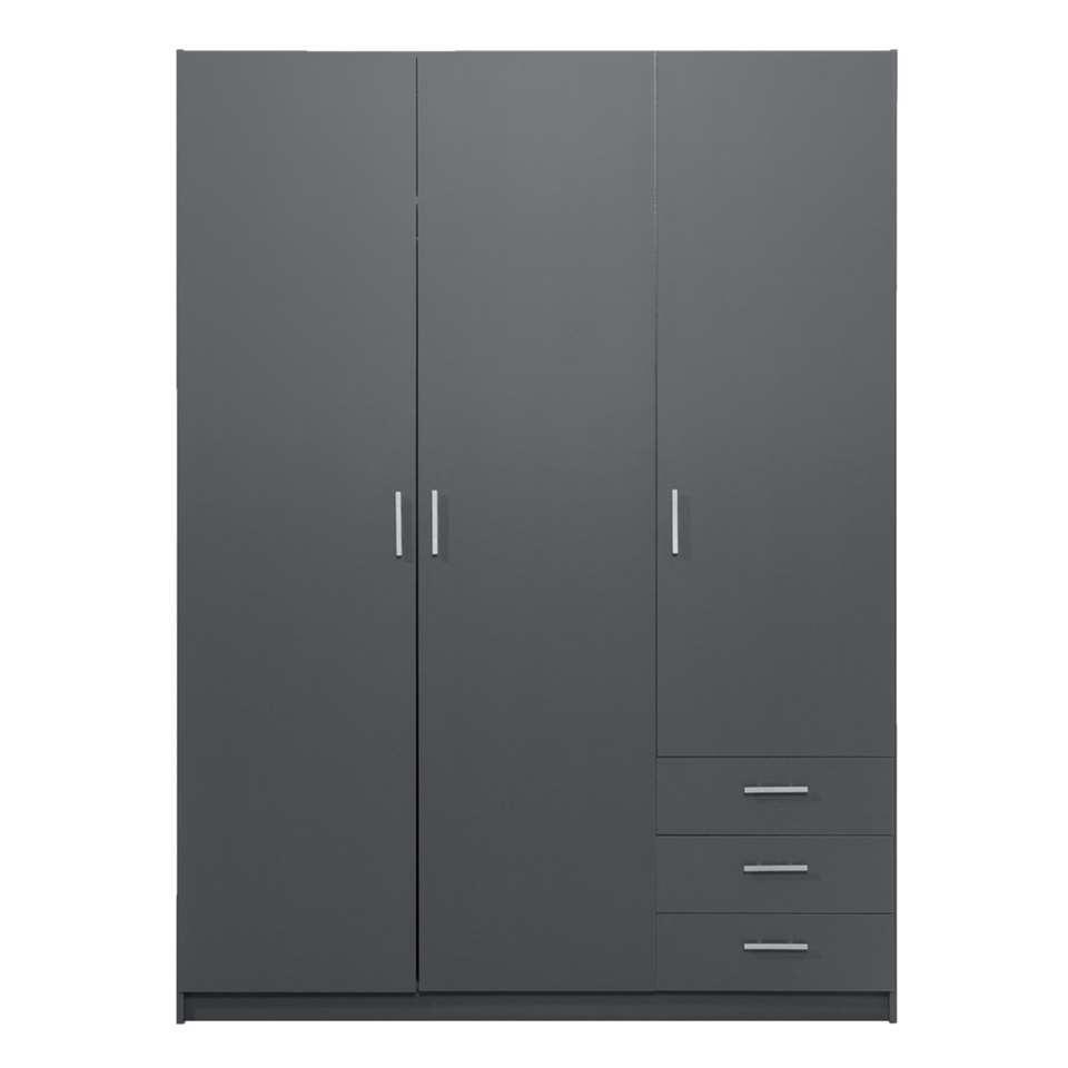 Kleerkast Sprint 3-deurs - donkergrijs - 200x147x50 cm