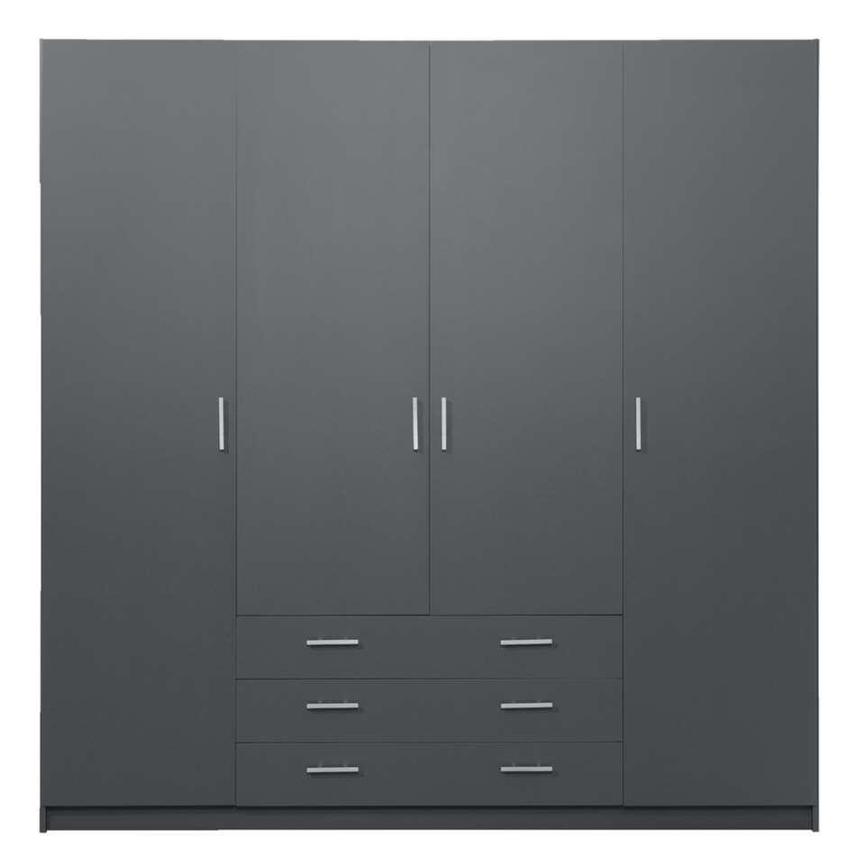 Armoire Sprint 4 portes - gris foncé - 200x196x50 cm