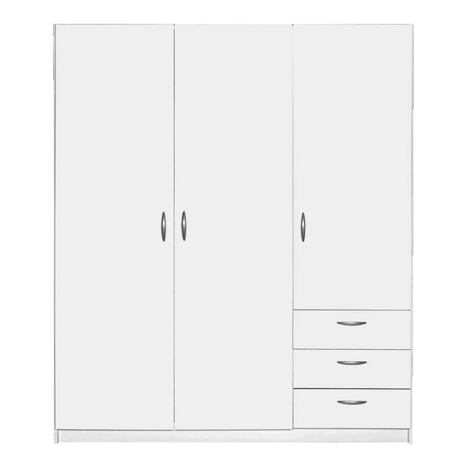 Kleerkast Varia 3-deurs - wit - 175x147x49,5 cm