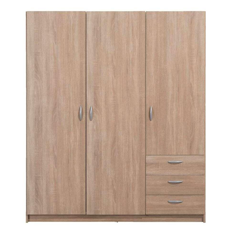 Kleerkast Varia 3-deurs - licht eiken - 175x147x49,5 cm