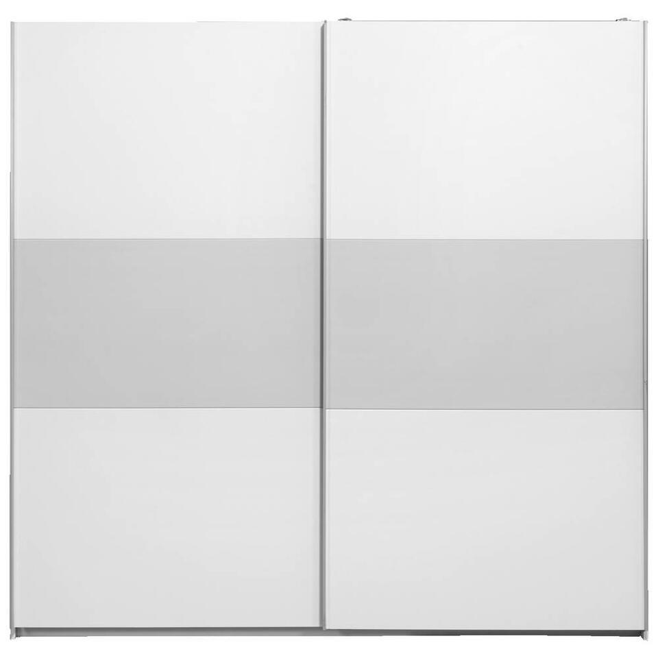 Armoire à portes coulissantes Napoli - blanche/grise, fermeture softclose - 210x215x60 cm