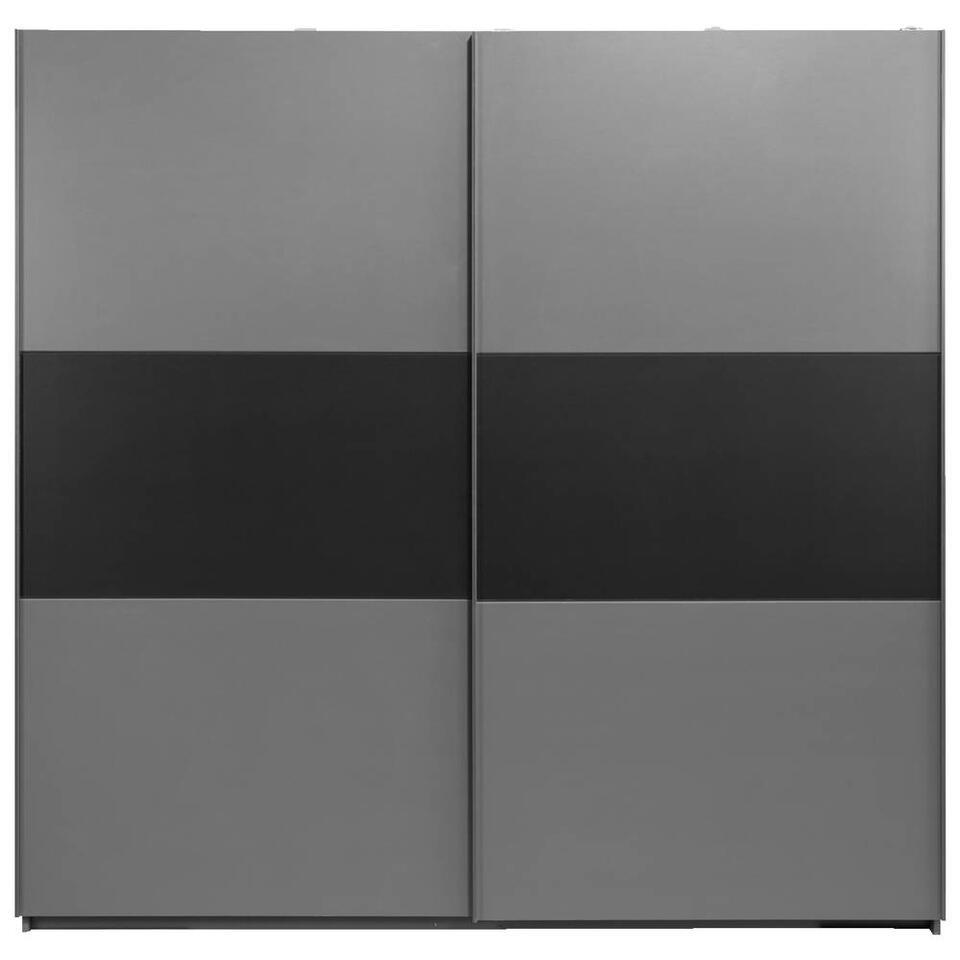 Schuifdeurkast Napoli - antraciet/zwart, softclose - 210x215x60 cm