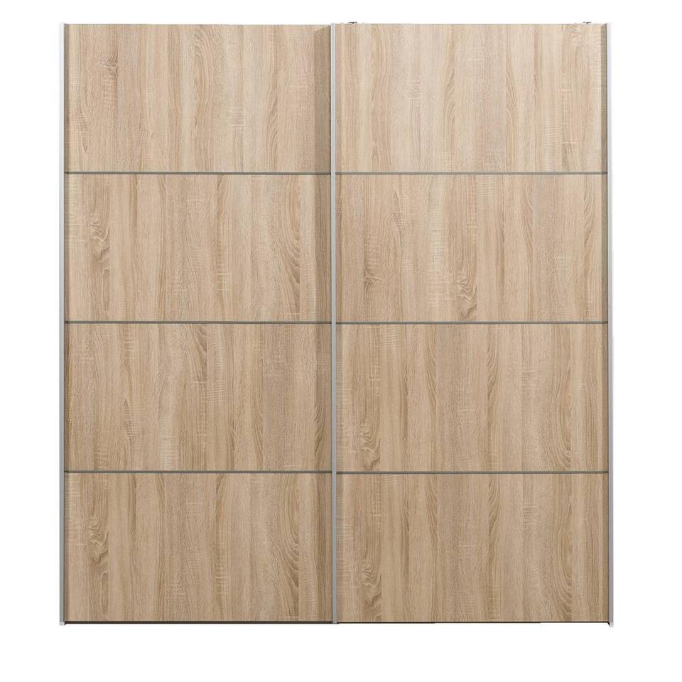 Armoire à portes coulissantes Verona blanche - couleur chêne - 200x182x64 cm