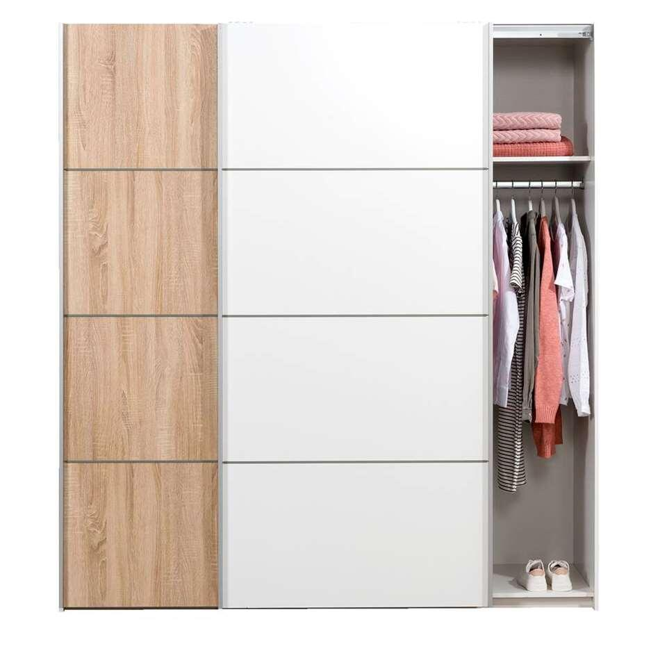 Schuifdeurkast Verona wit - eikenkleur/wit - 200x182x64 cm