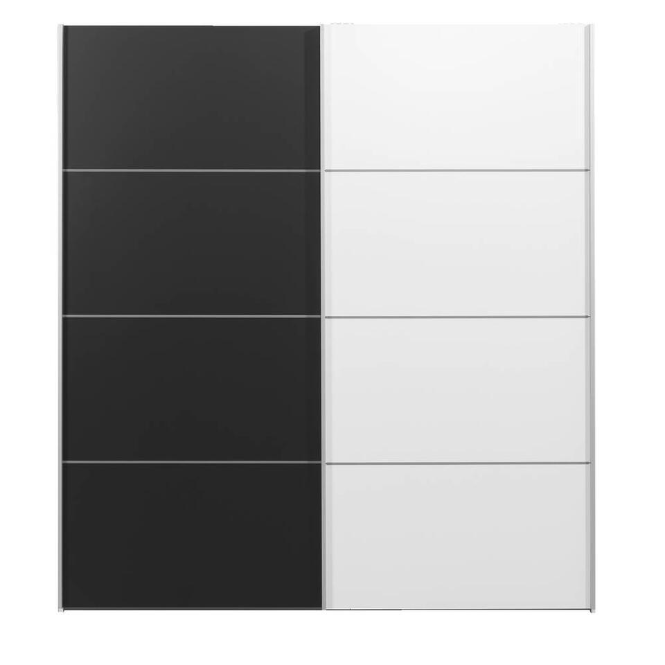 Armoire à portes coulissantes Verona blanche - noire/blanche - 200x182x64 cm
