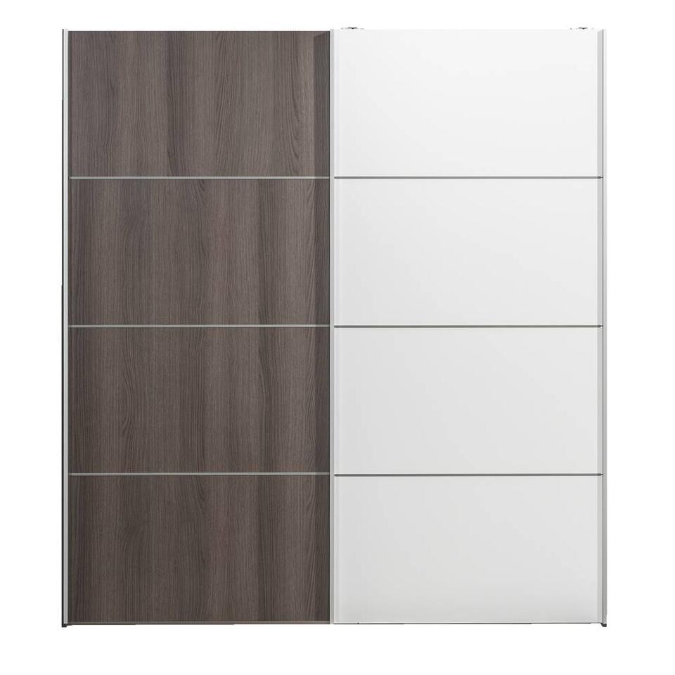 Armoire à portes coulissantes Verona gris couleur chêne - gris couleur chêne/blanche - 200x182x64 cm