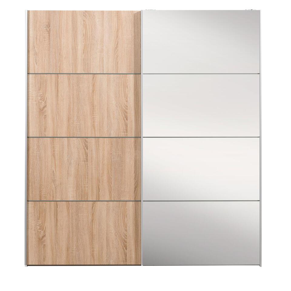 Armoire à portes coulissantes Verona blanche - couleur chêne/miroir - 200x182x64 cm