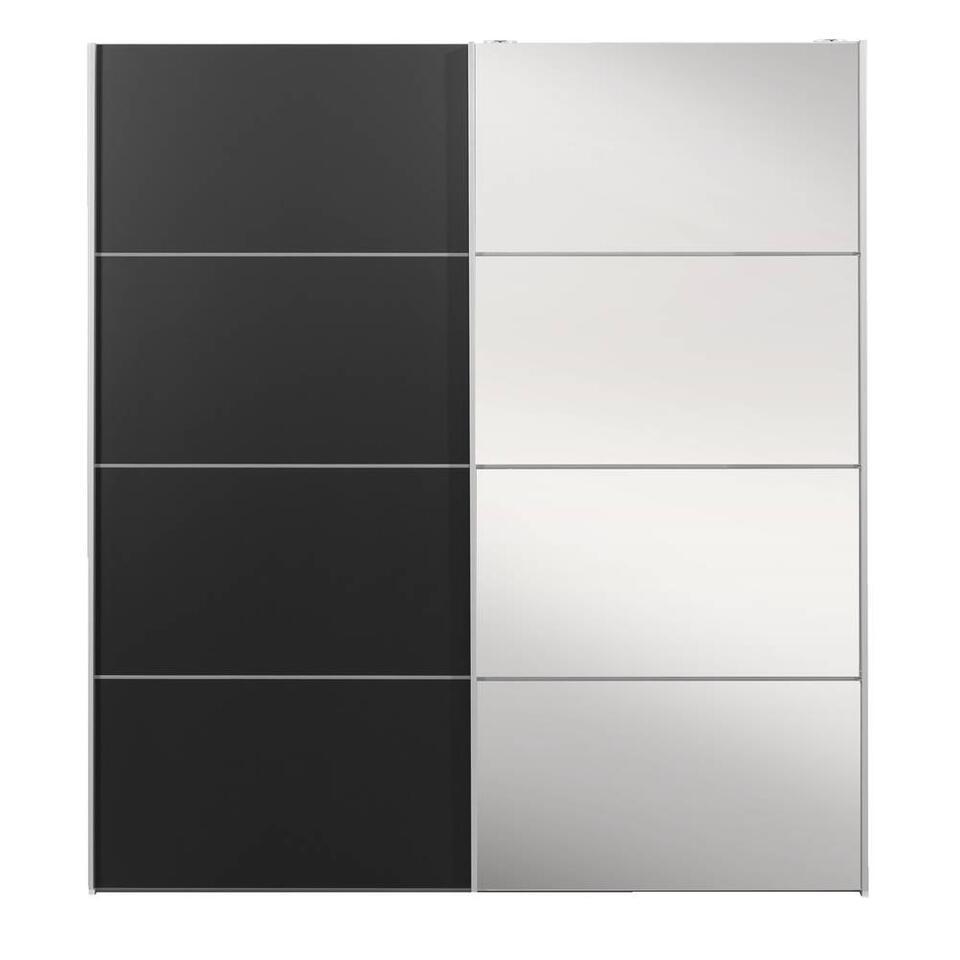 Schuifdeurkast Verona wit - zwart/spiegel - 200x182x64 cm