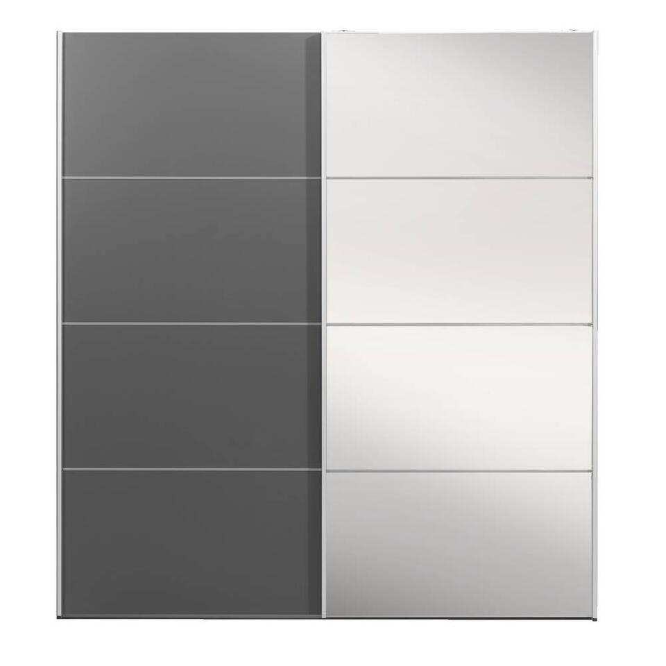Armoire à portes coulissantes Verona anthracite - anthracite/miroir - 200x182x64 cm