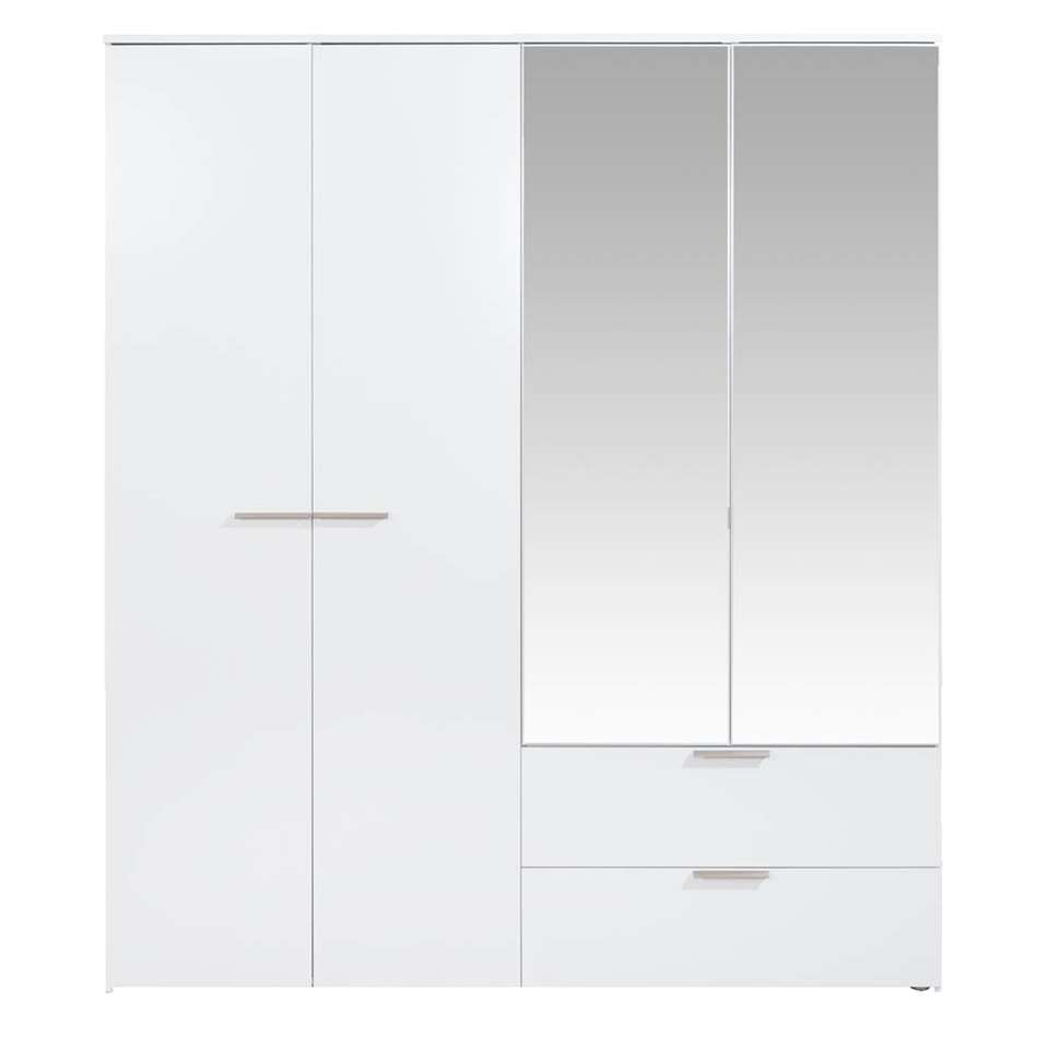 Garde-robe Tempo - blanc brillant, fermeture softclose - 230x200x54 cm