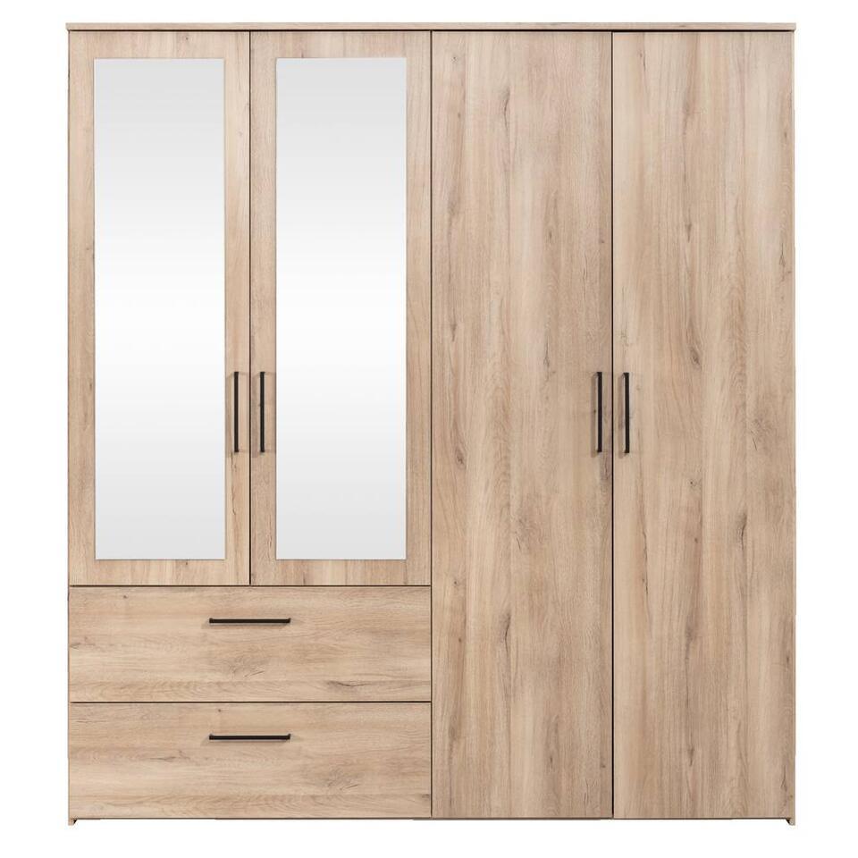 Kleerkast Orleans 4-deurs - eikenkleur - 201x181x58 cm