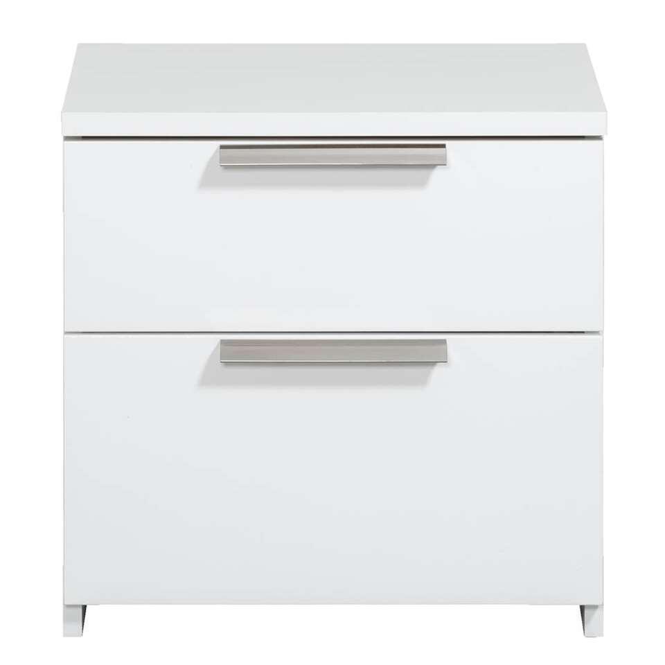 Table de nuit Tempo - 2 tiroirs - blanc brillant