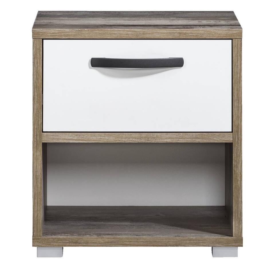 Table de nuit Mono - 1 tiroir - blanc/look de bois