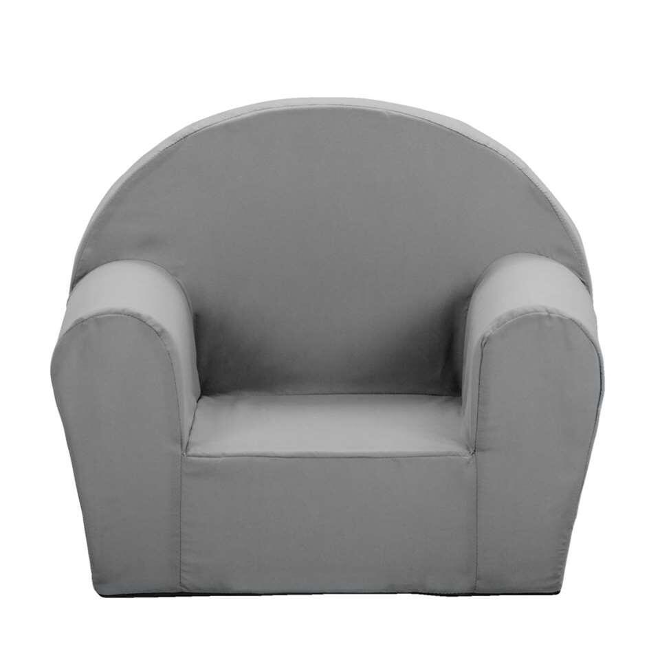 Deze eigentijdse fauteuil voor kinderen heeft een eigentijdse look en is antracietgrijs van kleur. Deze zachte fauteuil is 44x53x36 cm (hxbxd).