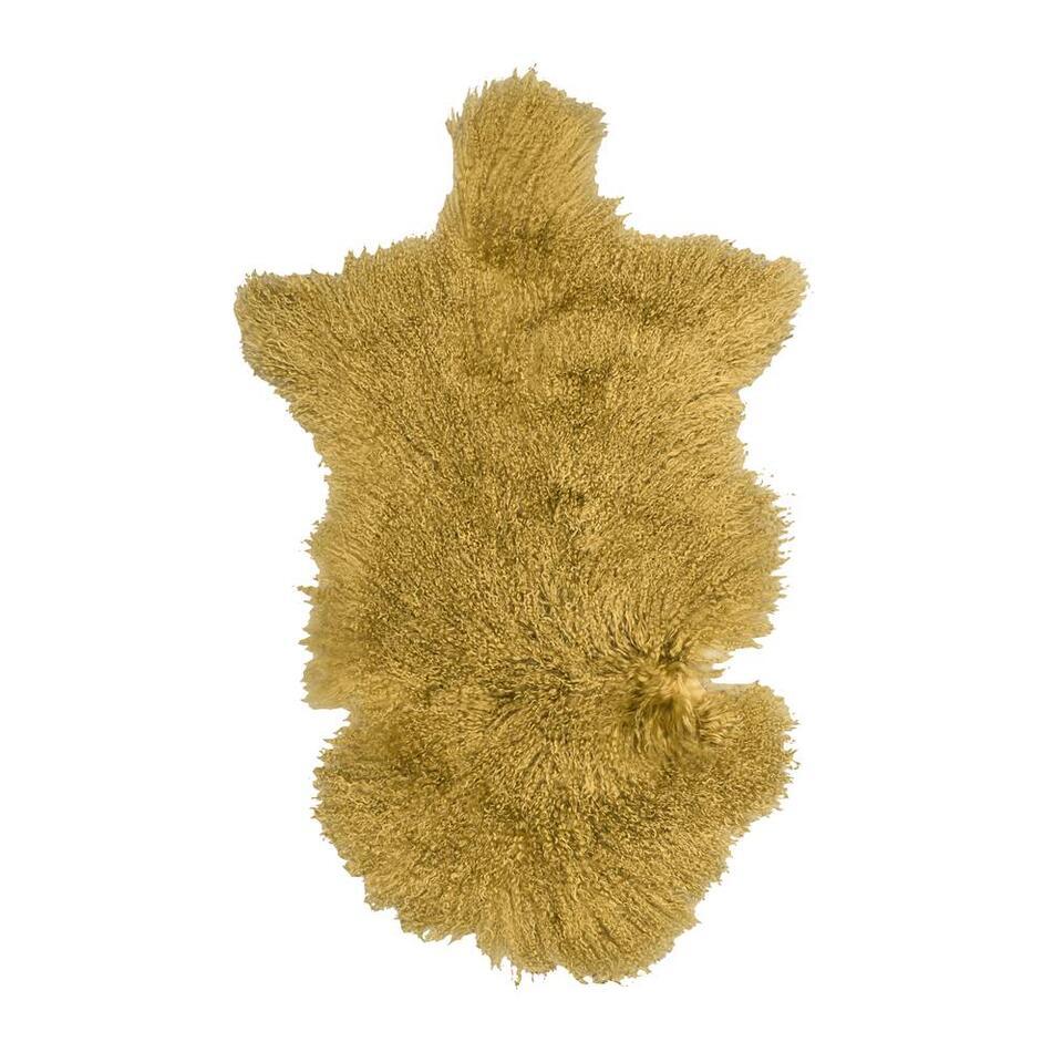 Natuurlijke wooninterieurs zijn hip! Boomstammetjes in de woonkamer bijvoorbeeld, of schapenvachtjes op de zetel of op de vloer. Het maakt uw woning gezellig en warm. Dit tapijt is zacht en heeft een mooie okergele kleur.