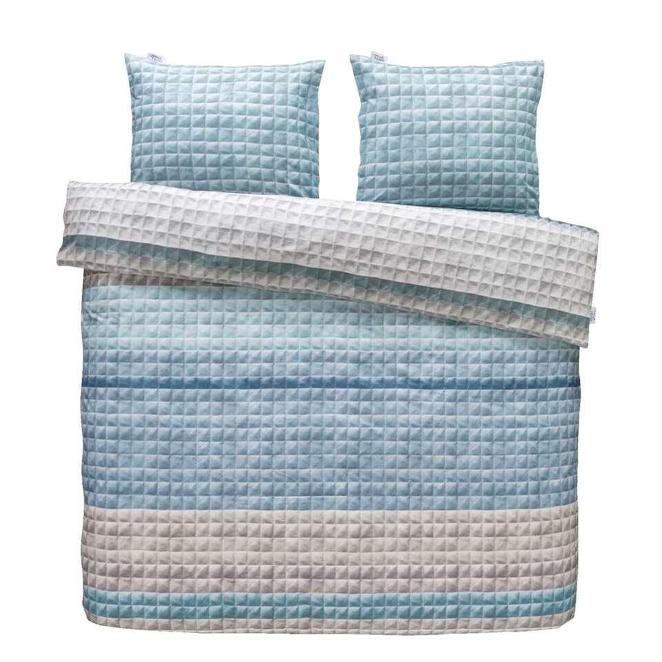 Ariadne at Home dekbedovertrek Quilted Squares - blauw - 240x200/220 cm