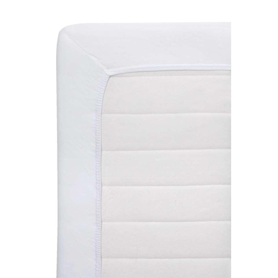 Dit witte hoeslaken Jersey is elastisch en rekbaar. Hierdoor heeft het laken een perfecte pasvorm en sluit goed aan om uw matras. Het laken is vervaardigd uit hoogwaardig katoen en heeft afmetingen van 180 bij 200 cm.