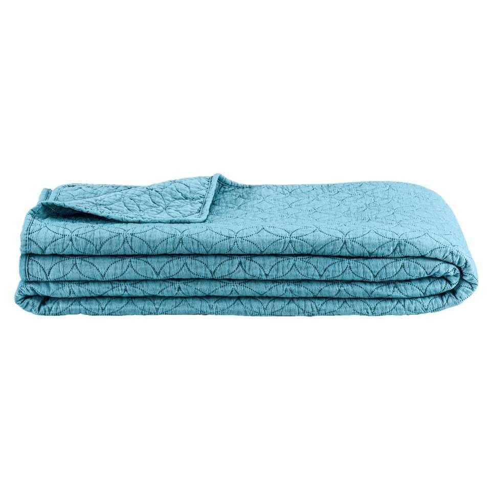couvre lit 240x240 Couvre lit Moji   bleu pierre   240x240 cm couvre lit 240x240