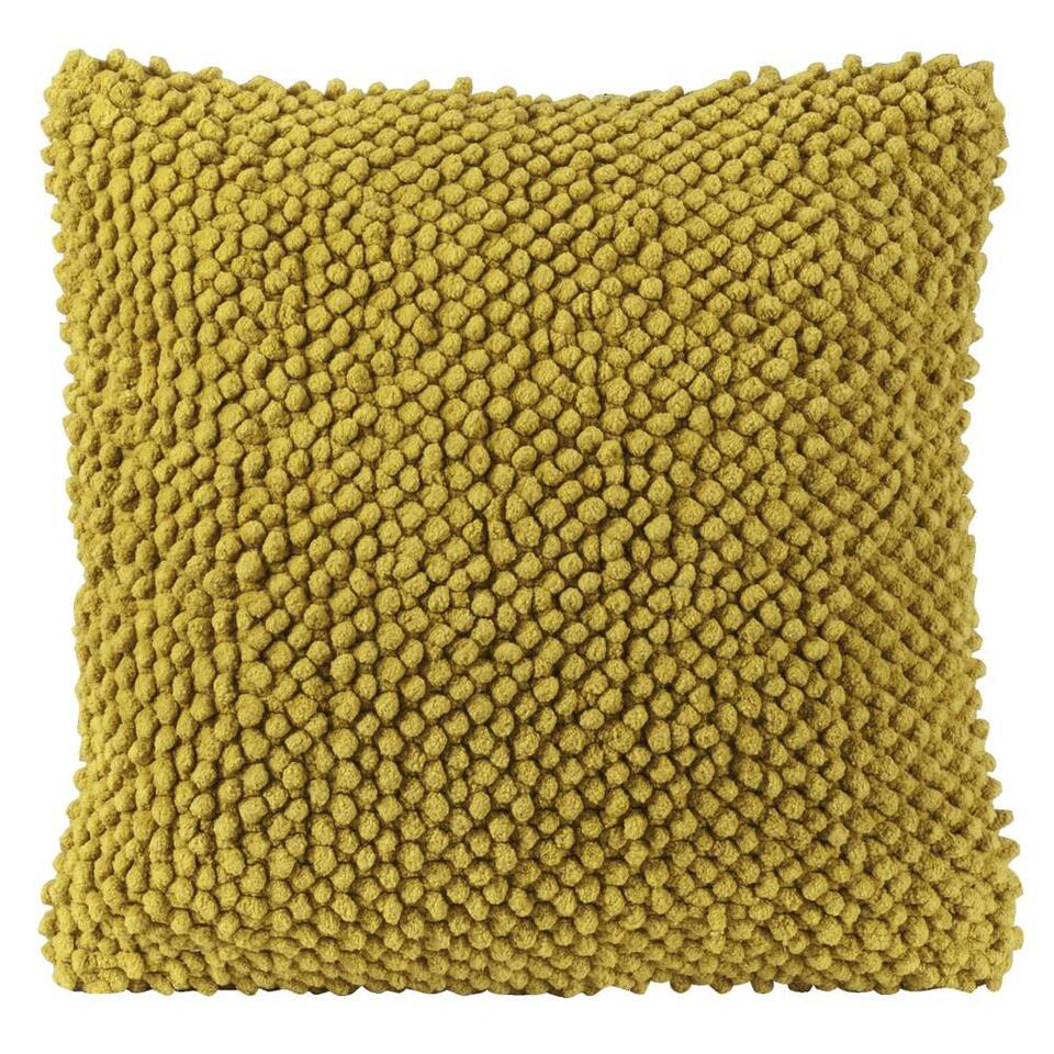 Sierkussen Indy is een fleurig, geel kussen. Een zacht kussen met een afmeting van 45x45 cm. Leg sierkussen Indy op de zetel of op bed.