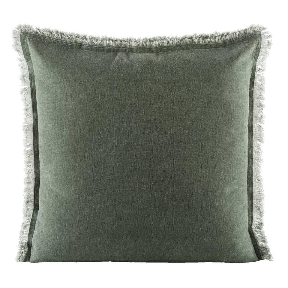 Le coussin décoratif Dylan est un coussin robuste en couleur vert foncé. Le coussin a un bord parachevé et des dimensions de 50x50 cm. Dylan est fait en coton.
