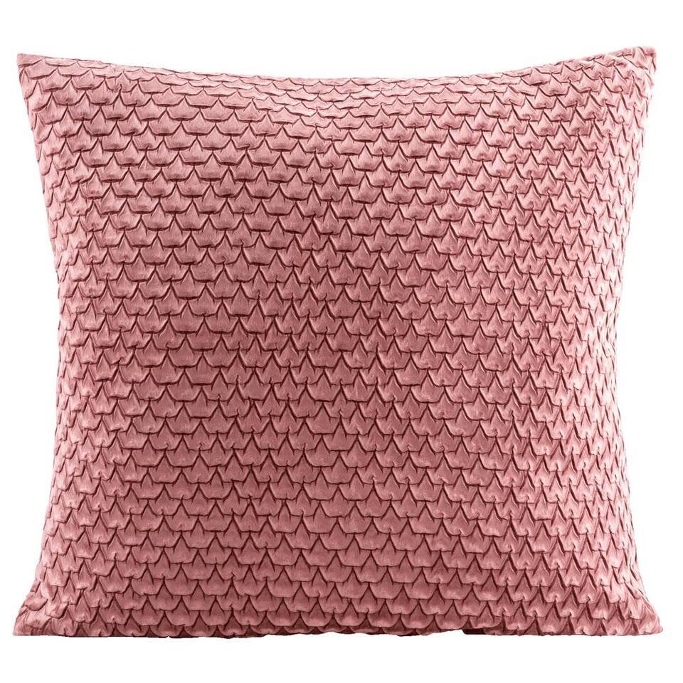 Sierkussen Victoria is een mooi kussen met een schubbenpatroon. Dit sierkussen heeft een afmeting van 45x45 cm en is gemaakt van 100% polyester. Leg het kussen in de zetel, op uw bed of vrolijk er een fauteuil mee op.