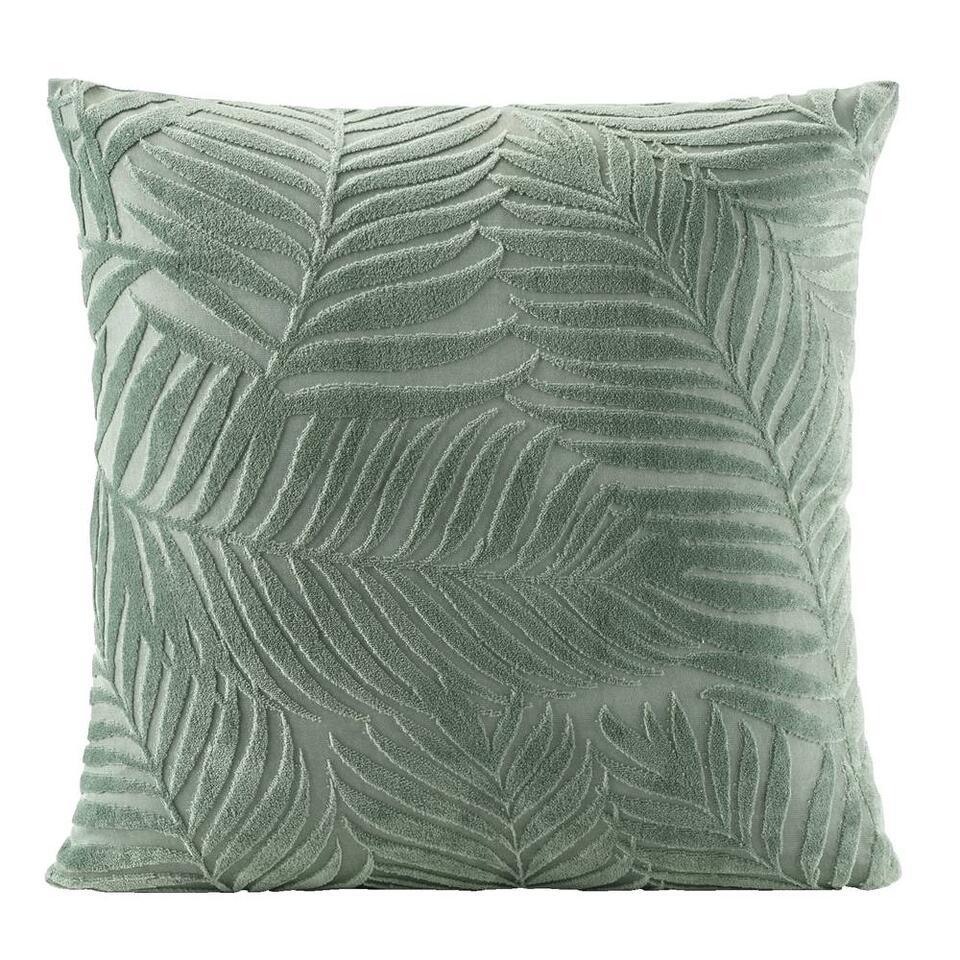 Sierkussen Jill is een mooi groen kussen. Dit sierkussen heeft een afmeting van 45x45 cm en is gemaakt van polyester. Leg het kussen in de zetel, op uw bed of vrolijk er een fauteuil mee op.