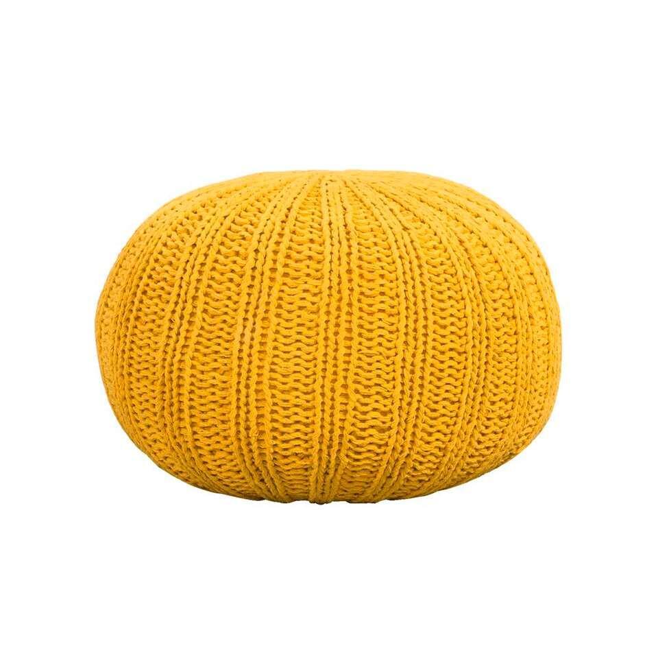 Pouf Milou est très moderne. Ce pouf branché a un look robuste. Le pouf est fait en coton jaune ocre. Mettez ce pouf près du canapé et posez-y vos pieds.