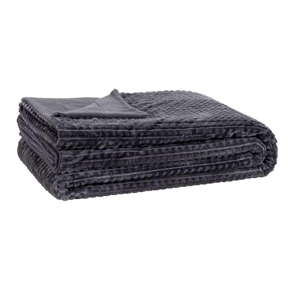 Plaid Kyra - couleur anthracite - 240x220 cm