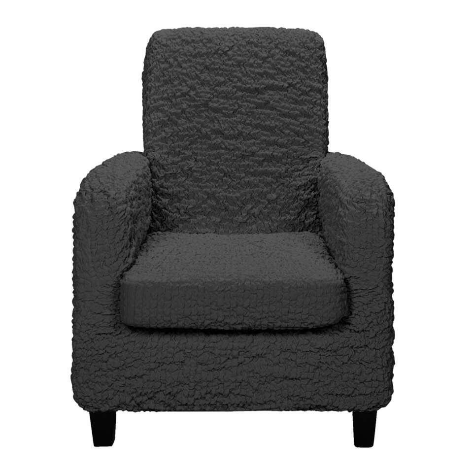 Bescherm uw fauteuil tegen vlekken en schade met deze 1-zits meubelhoes Josefien. De hoes is in antracietkleur en gemaakt van katoen, polyester en elastaan.
