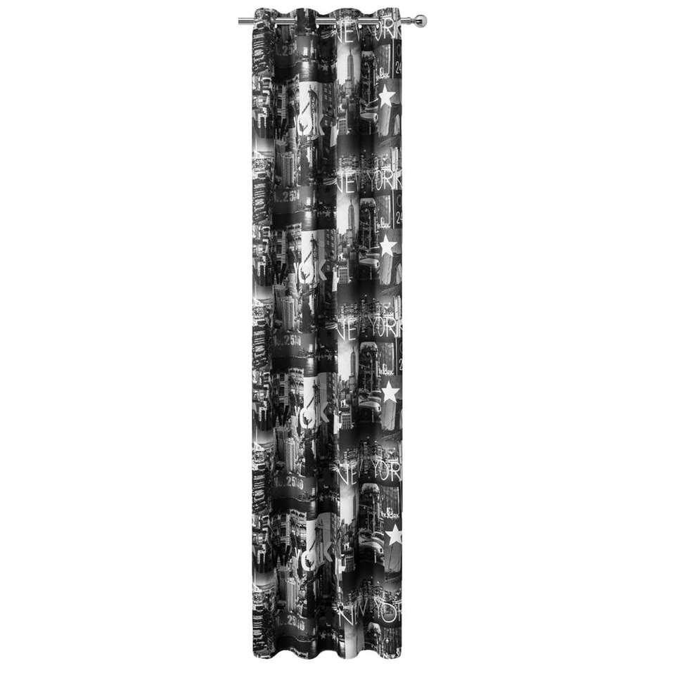 Gordijn New York - zwart/wit - 280x135 cm (1 stuk)