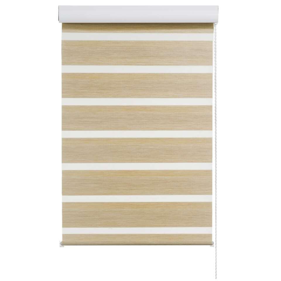 Store enrouleur jour et nuit - structure de bois/ivoire - 60x210 cm