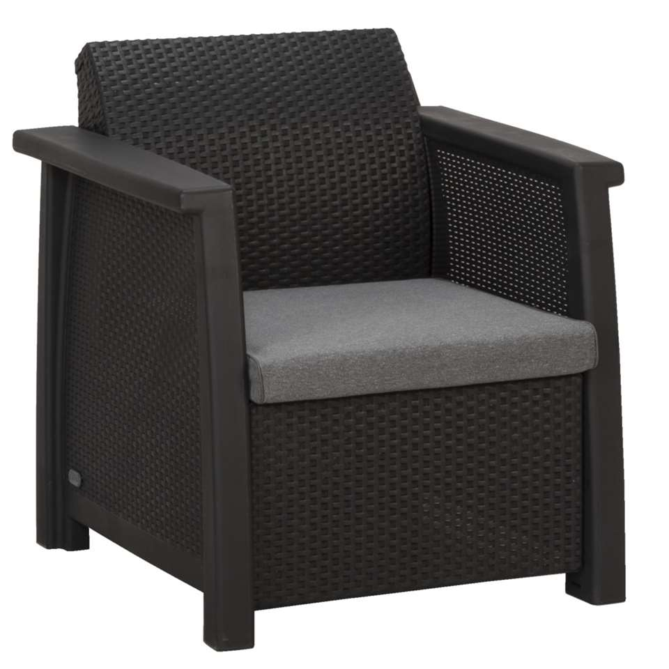 Le Sud loungestoel Porto - grijs - 77x68x79 cm (2 stuks) - Leen Bakker