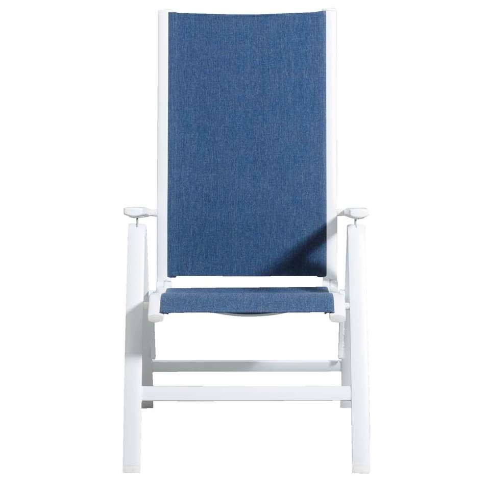 Le Sud terrasstoel Toulon 5-standen - wit/blauw - 115x67x63 cm - Leen Bakker