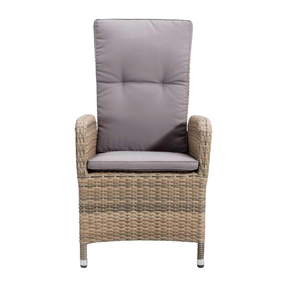 Le Sud fauteuil Verona verstelbaar incl. kussens - grijs - 69x58x107 cm - Leen Bakker