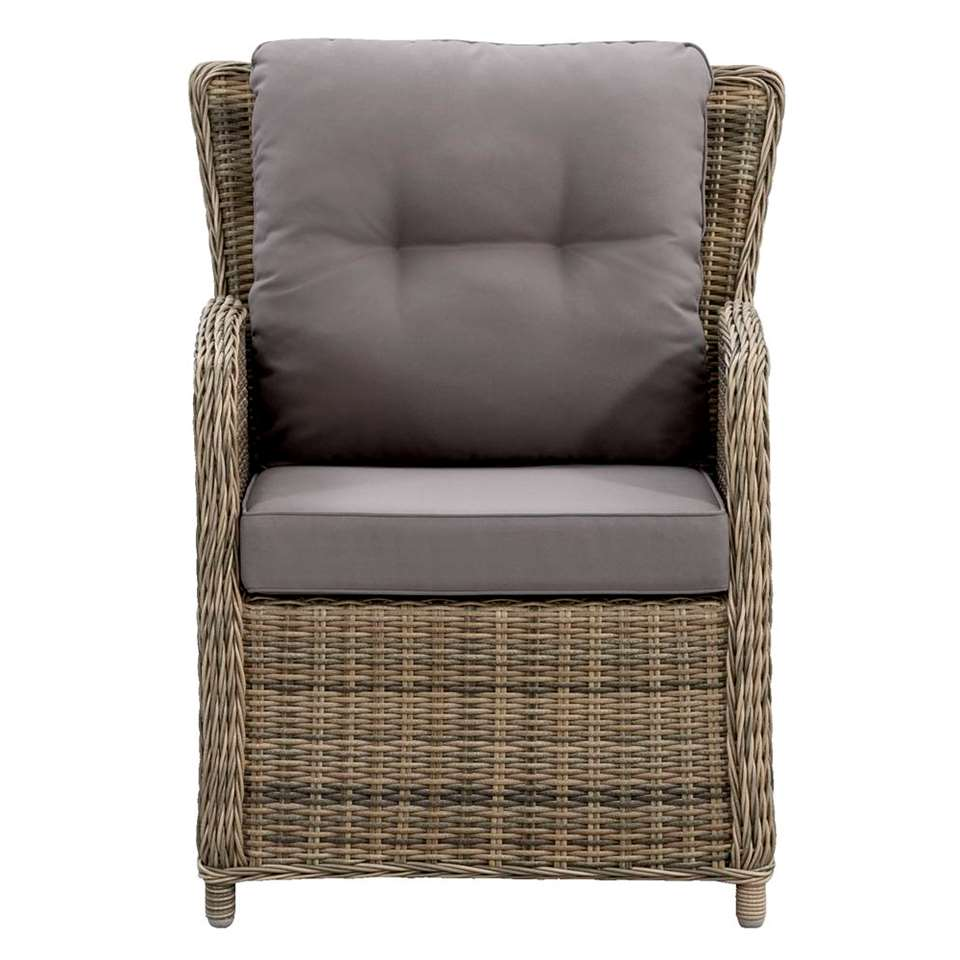 Le Sud fauteuil Verona verstelbaar incl. kussens - grijs - 82x73x92,5 cm - Leen Bakker