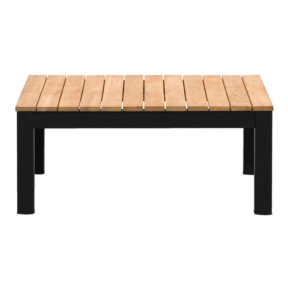 Le Sud loungetafel Valence - mat zwart/teakkleur - 76x76x32 cm - Leen Bakker