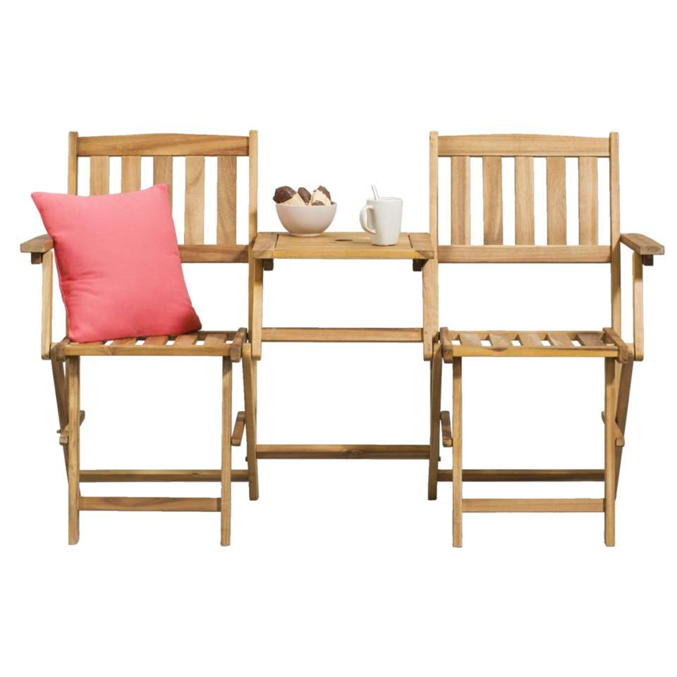 Le Sud loveseat Sevilla - houtkleur - 55x142x87 cm - Leen Bakker