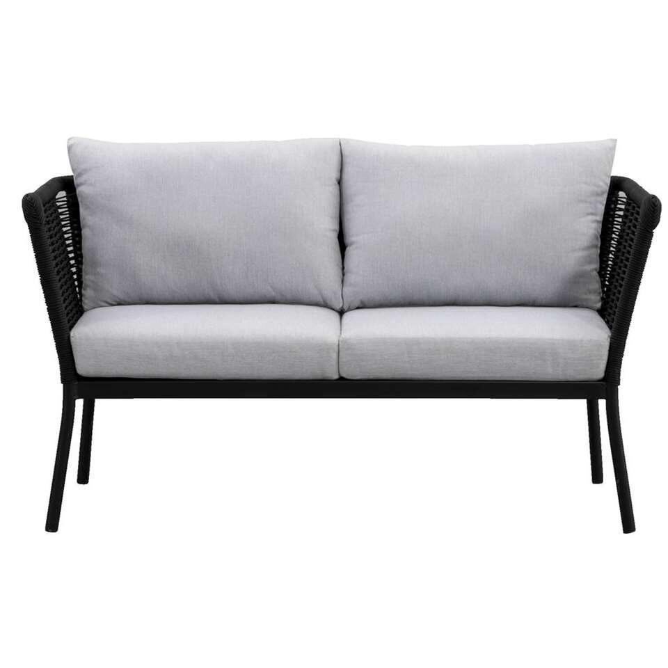 Le Sud loungezetel Viviers 2-zits - mat zwart - 69x142x75 cm - Leen Bakker